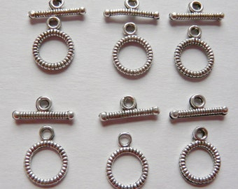 10 Silver Plated Toggle Clasps