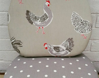Seat Pads, tie on chair cushions, Clarke and Clarke fabric Chicken and Grey Dotty, dining chair, Bespoke sizes available
