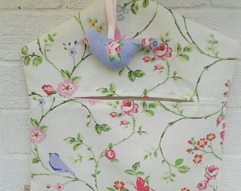 Peg bag in Clarke and Clarke Bird Trail with Rose Dotty and hanging bird