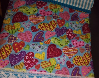 Blue hand towel patchwork hearts