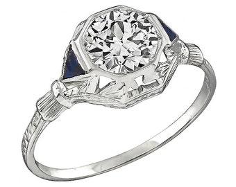 Art Deco EGL Certified 1.16ct Diamond Engagement Ring