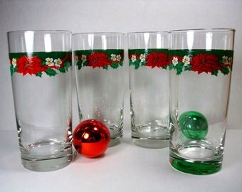 Vintage Holiday Drinking Glasses - Christmas Drinkware - Christmas Poinsettia and Holly Tumblers (Set of 4)