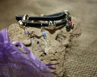black leather bracelet w/charms 2016 I