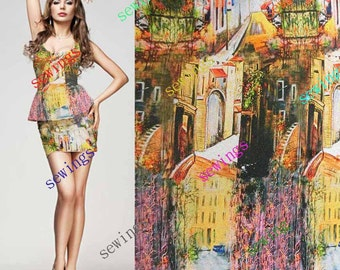 DISCOUNT cdk-4038 Abstractive House Digital Print Pattern Pure Silk Fabric Crepe de Chine by Meters/ Yards Dressmaking Material online