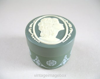 Vintage Cameo vanity jar, green and white colour, small size, c1970s, dressing table ornament