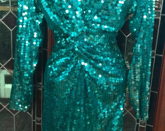 1980s Bonwit Teller green sequined dress