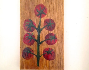 Cherry Tomato Wood Painting