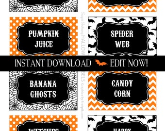 Halloween Labels - Halloween Party Tags - Instantly Downloadable and Editable File - Personalize at home with Adobe Reader now!