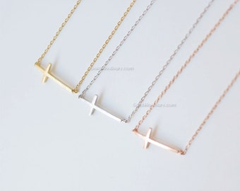rose Gold sideways cross necklace, skinny cross necklace, dainty everyday necklace, wedding, birthday, bridesmaid gifts,