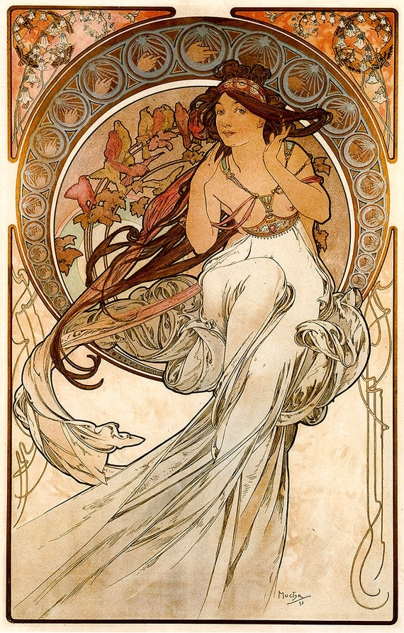 items similar to art print music alfons mucha art reproduction oil painting paper poster wall. Black Bedroom Furniture Sets. Home Design Ideas