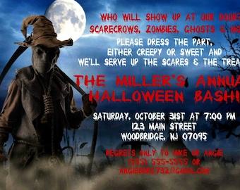 Halloween Invitation, Scary Scarecrow, Corn Field, Printable, DIY