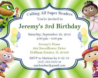 Super Why Birthday Invitations, Printable, DIY