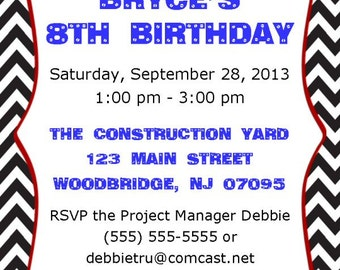 Tool Box, Toos, Screwdriver, Hammer, Nails, Birthday, Invitations, Printable, DIY