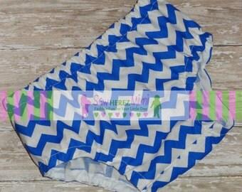 Royal Blue Chevron Diaper Cover in Sizes Newborn, 0-3 mos, 3-6 mos, 12 mos, 18 mos, 24 mos