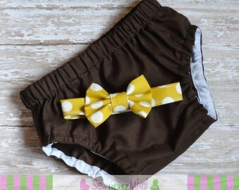 CAKE SMASH Chocolate Brown Mustard Polka Dot Infant Photo Prop 1st Birthday Diaper Cover Bow Tie