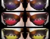 Black & Color Leather Mesh Bra