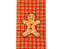 Christmas Tea Towel, Christmas Gingerbread Man Applique Kitchen Towel, Dish Towel, Hand Towel, Tea Towel, Christmas Decor,