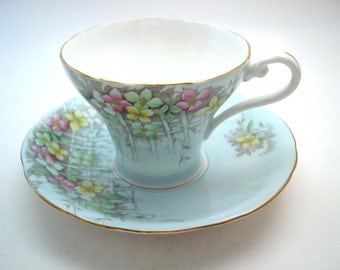 Aynsley  Blue Tea Cup And Saucer, English Fine bone china, Blue and gold tea cup set.