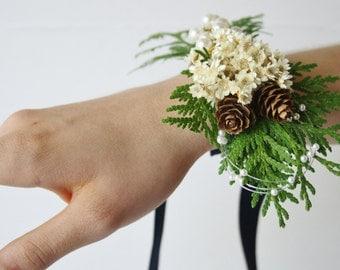 Rustic Corsage Winter corsage Woodland wedding corsage driedivory flower pinecone corsage winter wedding wrist wrap ivory bridal corsage EVA