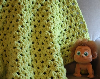 Super Soft Lime Crochet Baby Blanket