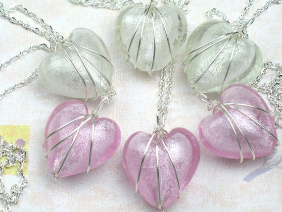 Bridesmaid Gift, Set of Six Heart Necklaces with Wire Wrapped Pendant, Bridesmaid Necklaces, Wedding Jewelry, Bridal Jewelry