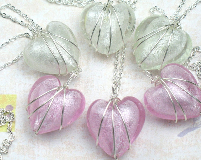 Bridesmaid Gift, Set of Five Heart Necklaces with Wire Wrapped Pendant, Bridesmaid Necklaces, Wedding Jewelry, Bridal Jewelry