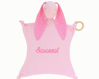 Personalized Pink Bunny Lovey Security Blanket, Polka Dot Ears, Soft Baby Toy, Lovey Blanket, Stuffed Animal, Stork Party Baby Shower Gift