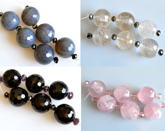 3pc Faceted Round Gemstone Beads Natural Color Size Approx. 24-26mm