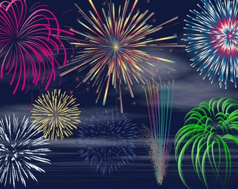 Digital Fireworks Clip Art -INSTANT DOWNLOAD-15 Png/1 Jpeg- Individual Embellishments -Personal or Commercial Use