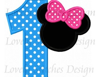 Minnie Mouse Number 1 Applique Machine Embroidery Design NO:0536