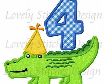 Birthday Alligator with number 4 Applique Machine Embroidery Design NO:0453