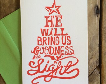 Goodness and Light -- Block Print Christmas Cards, Hand Lettering