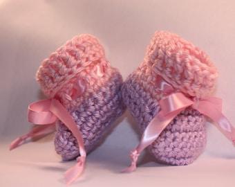 Pink Cuffed Purple Baby Booties - Girl Baby Booties -  Crochet Baby Booties