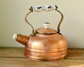 Vintage Rustic Copper Teapot with Ceramic Handle