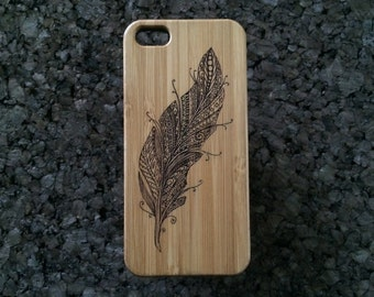Feather iPhone 5 iPhone 5S or iPhone SE Case. Symbol for Truth, Speed, Air, Wind, Flight, Ascension. Bamboo Wood Cover. iMakeTheCase Brand