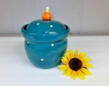 Deep Turquoise Ceramic Kitchen Canister, Handmade Stoneware Pottery Storage Jar, Wild Crow Farm Pottery