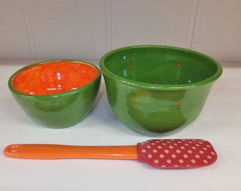 Green and Orange Polka Dot Ceramic Bowl Set, Nesting Bowls