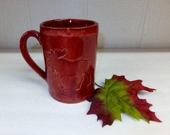 Brick Red Moose Ceramic Coffee Mug, Extra Large Handbuilt Stoneware Pottery Mug