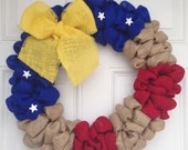 Patriotic Burlap Wreath Support the Troops Yellow Ribbon