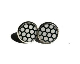 Hexagon Earrings - Geometric stud earrings, Black and white studs - Minimalist Earrings - Simple