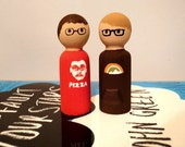 John and Hank Green Wooden Peg Dolls Vlogbrothers Nerdfighters Collectible Figurines YouTubers Vidcon Fandom Peg People