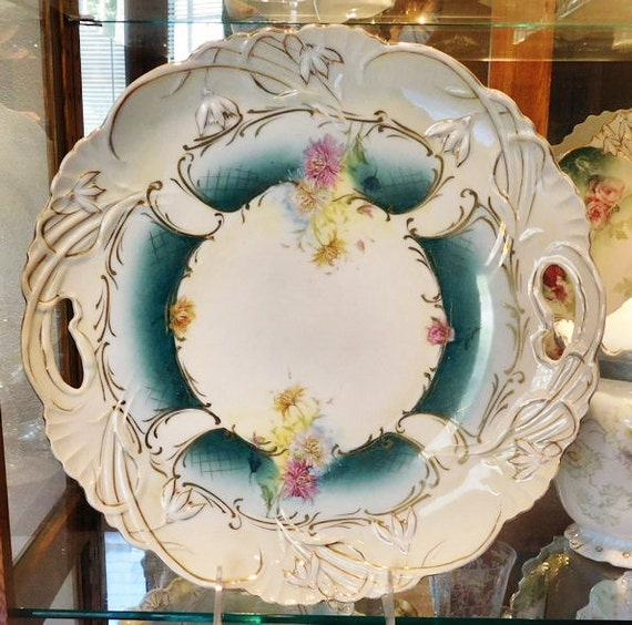 "RSP RS Prussia Large Charger 12"" 1900s Art Nouveau Victorian Antique Porcelain Country Cottage Home Decor R S Prussia Cake Plate Platter"
