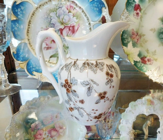 1800s Antique Ironstone Milk Creamer Pitcher Victorian Aesthetic Period Carlsbad Austria Marx Gutherz Brown Polychrome  Floral Transferware