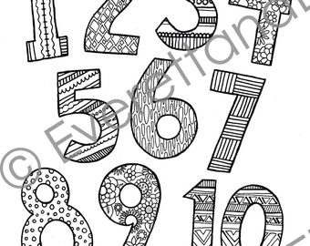"Digital Download ""Fun Numbers"" Coloring Page"