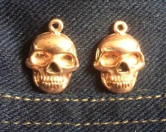 4 - Copper Skull Pendants - Dia de Los Muertos * Sugar Skulls