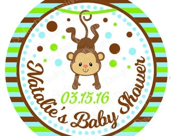 PERSONALIZED WEDDING STICKERS - Adorable Monkey Baby Shower Stickers - Round Gloss Labels