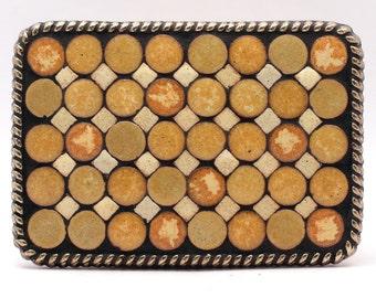 Mosaic Belt Buckle--Gold and Ivory Geometric