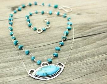 Turquoise Evil Eye Sterling Silver Necklace JMK