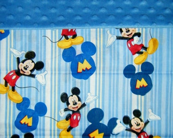 Nap Mat Cover / Toddler Cot Cover with Padded Minky Dot Headrest - Mickey Mouse