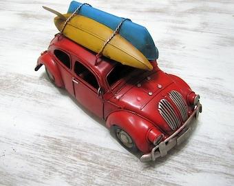 VW Beetle -Red Vintage Design Vosvos -Kanu and Surf Volkswagen Bug - Home Decor